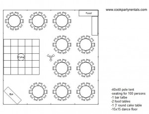 40 x 40 Tent Layout 2 & Seating