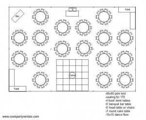 40 x 60 Tent Layout 2 & Seating